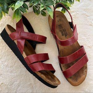 Naot Kayla red nubuck leather Velcro wedge sandal